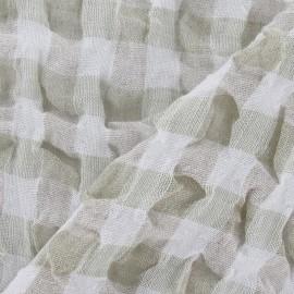 Tissu lin vichy gaufré vert pâle x 10cm