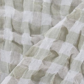 Vichy Embossed Linen Fabric - Pale Green x 10cm