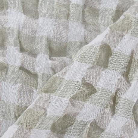tissus pas cher tissu lin vichy gaufr vert p le. Black Bedroom Furniture Sets. Home Design Ideas