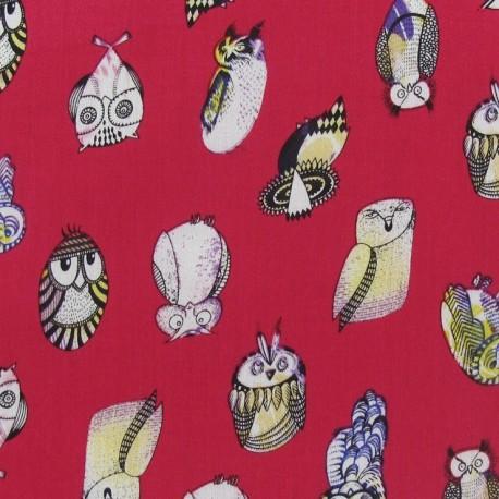 Hiboux Viscose Fabric - Fuchsia x 10cm