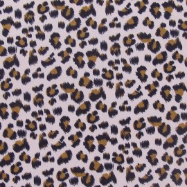Tissu Gabardine Lycra Mini léopard rose x 10cm