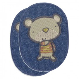 Elbow and knee patch, teddy bear on denim - blue denim