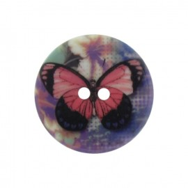 Bouton polyester motif papillon parme
