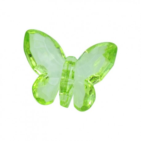 Polyester butterfly-shaped crystal button - lime