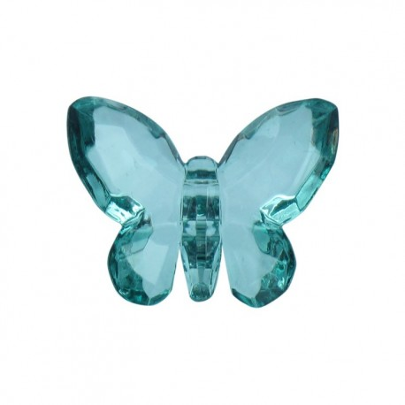 Polyester butterfly-shaped crystal button - turquoise/green