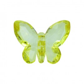 Bouton polyester Forme papillon crystal jaune