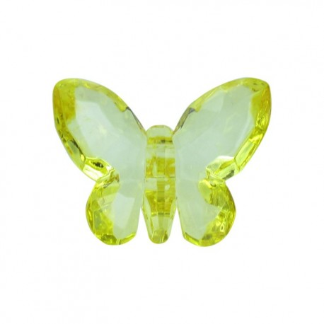 Polyester butterfly-shaped crystal button - yellow