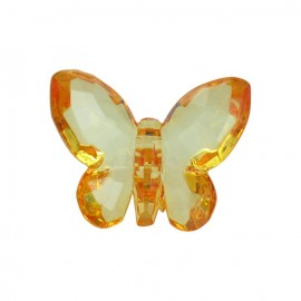 Polyester butterfly-shaped crystal button - orange