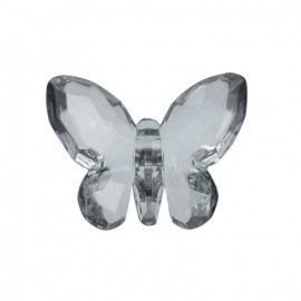 Polyester butterfly-shaped crystal button - grey