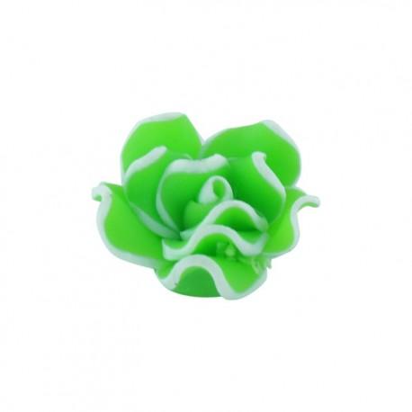 Bouton Forme fleur polymère vert anis