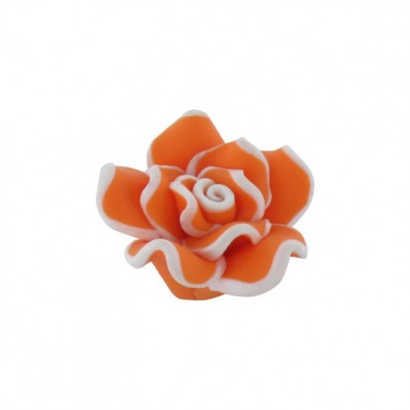 Polymer flower-shaped button - orange