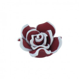 Polymer flower-shaped button - crimson red
