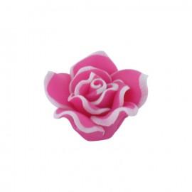 Bouton Forme fleur polymère fuchsia
