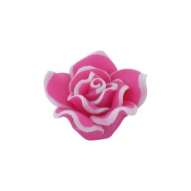 Polymer flower-shaped button - fuchsia