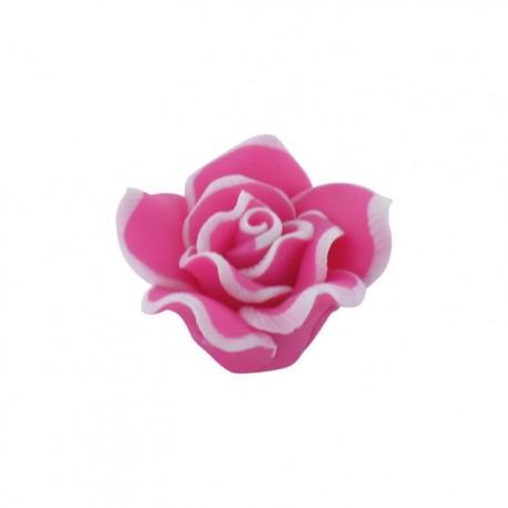 Polymer flower-shaped button - fuchsia