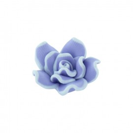 Polymer flower-shaped button - mauve
