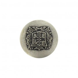 Metal button, rounded-shaped, coat of arms B - silver