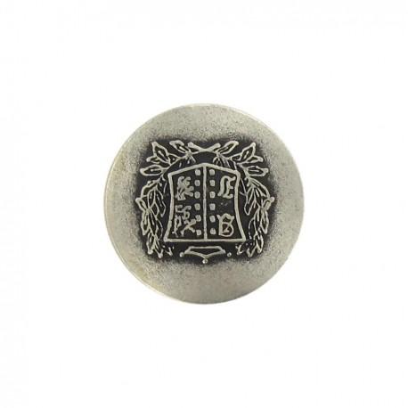 Bouton métal rond blason B argent