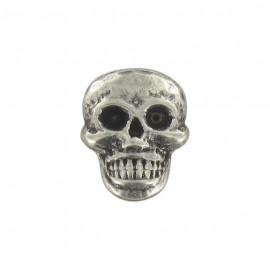 Bouton métal petite tête de mort argent