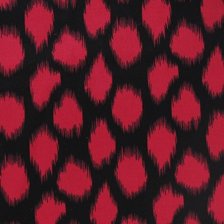 Tissu Gabardine gravure noir fuchsia x10cm