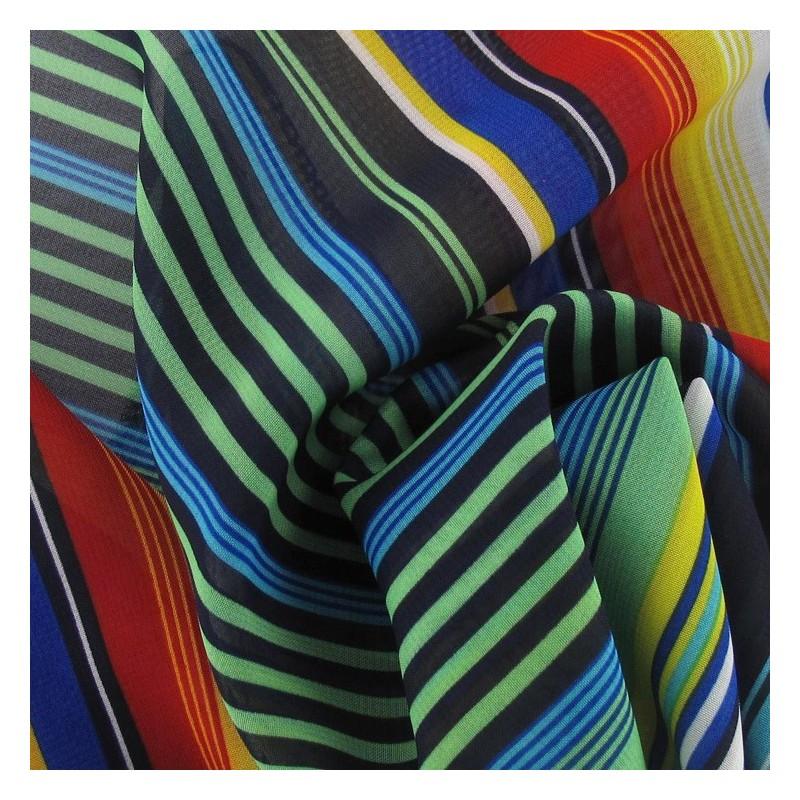 tissus pas cher tissu mousseline rayure multi a x 50 cm. Black Bedroom Furniture Sets. Home Design Ideas
