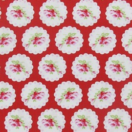 Tissu Valentine Rose Cameo hearts Red x 10cm
