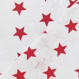 Tissu dévoré étoiles rouge x 10cm