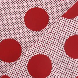 ♥ Coupon 30 cm X 110 cm ♥  Tissu piqué de coton à pois grand et mini rouge