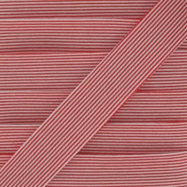 Cotton bias binding, horizontal stripes - red