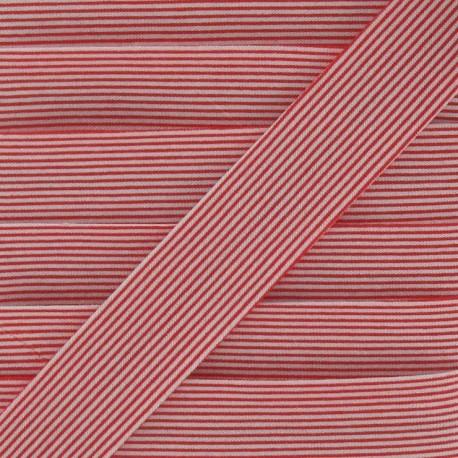 Biais coton rayures horizontales rouge