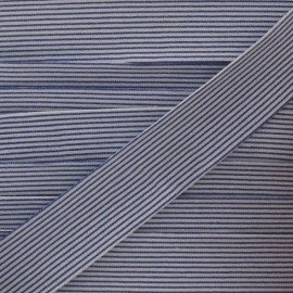 Cotton bias binding, horizontal stripes - navy