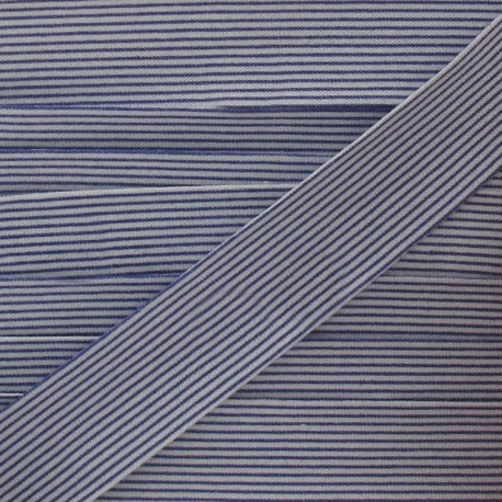 Biais coton rayures horizontales marine