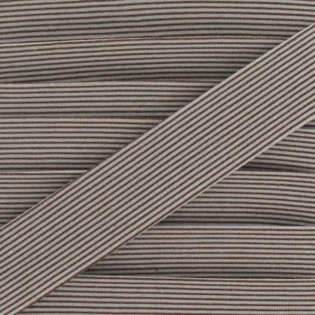 Biais coton rayures horizontales marron
