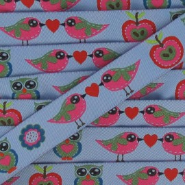 Jacquard Ribbon birds - blue