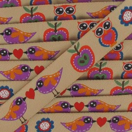 Jacquard Ribbon birds - beige