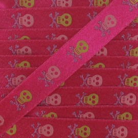 Sequins Satin Ribbon Skull - Fuchsia