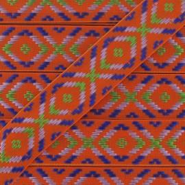 Large Jacquard Ribbon, Incas - Orange