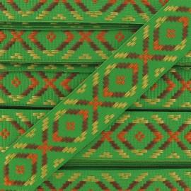 Large Jacquard Ribbon, Incas - Green