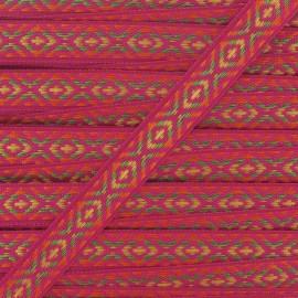 Small Jacquard Ribbon, Incas - Fuchsia