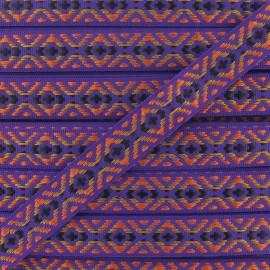 Small Jacquard Ribbon, Incas - Purple