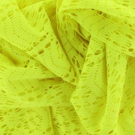 Tissu dentelle élastique néon jaune x 10cm