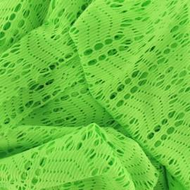 Tissu dentelle élastique néon vert x 10cm