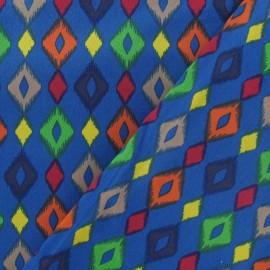 Tissu gabardine losanges bleu x 10 cm