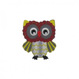 Colored Owl iron-on applique - grey