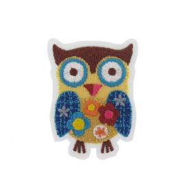 Owl flowers iron-on applique - yellow