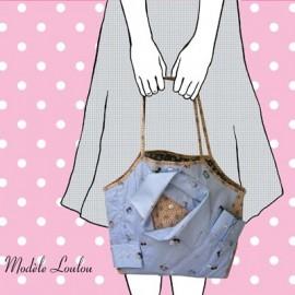 Loulou bag sewing pattern, Mlle Kou by Céline Dupuy - mauve