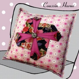 """♥ """"Coussin Harué"""" cushion sewing pattern, Mlle Kou by Céline Dupuy - pink ♥"""