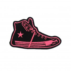 Sneakers star sew-on applique - fluorescent pink