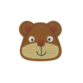 Imitation leather Teddy bear, animals iron-on applique - brown