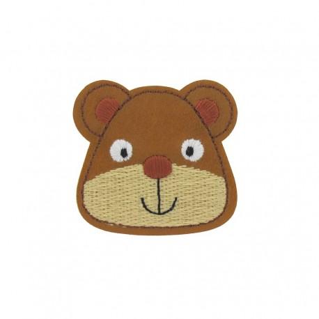 Imitation leather Teddy bear, animals iron-on applique - brown